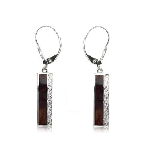 Sterling Silver Hawaiian Engraved Koa Wood Long Bar Shaped Lever Back Earrings