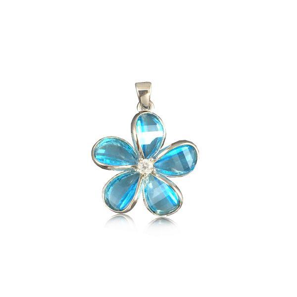 Sterling Silver 15MM Hawaiian Plumeria with Semi-Precious Blue Topaz Pendant