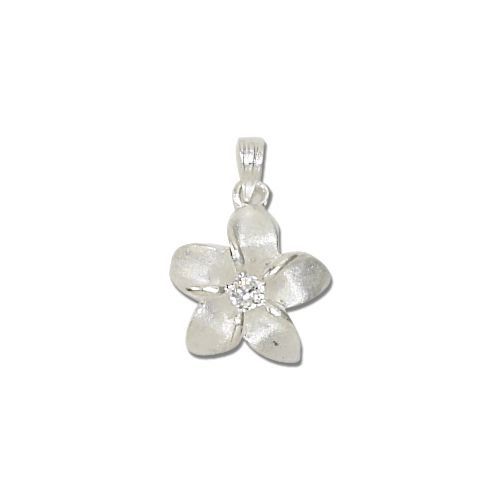 Sterling Silver White Sand 15MM Hawaiian Plumeria with Clear CZ Design Pendant