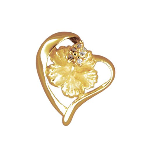 14kt Yellow Gold Hawaiian Hibiscus in Heart Slide Pendant