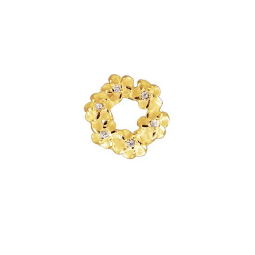 14kt Yellow Gold 6mm Plumeria Leis with CZ Pendant