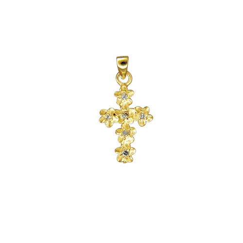 14kt Yellow Gold 6mm Plumeria Leis Cross with CZ Pendant