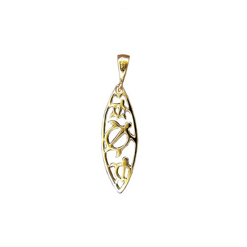 14kt Yellow Gold Hawaiian HONU with Surfing Board Shaped Pendant