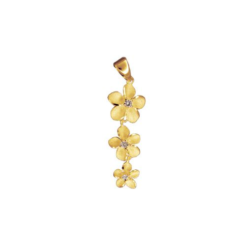 14kt Yellow Gold Past Present and Future Plumeria with CZ Pendant