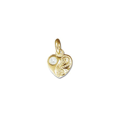 14kt Yellow Gold CZ Hand Carved Heart Pendant