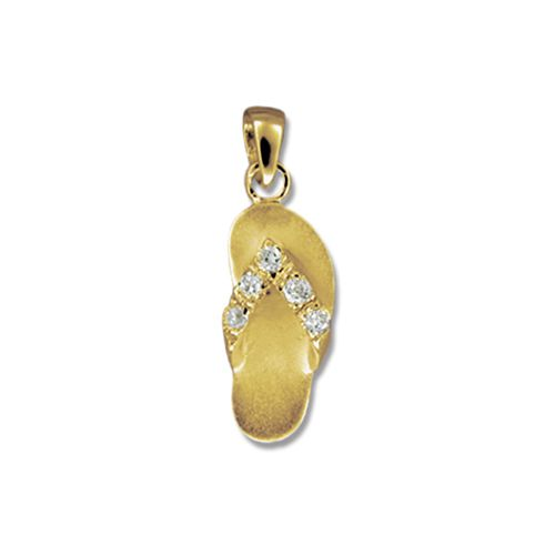 14kt Yellow Gold Hawaiian Slipper with CZ Pendant