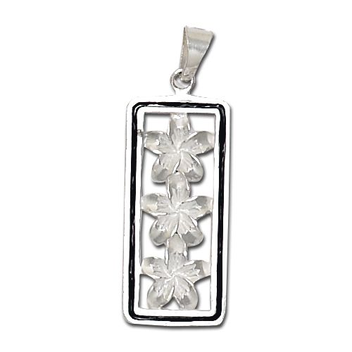 Sterling Silver Plumeria Pendant with Black enamel borders