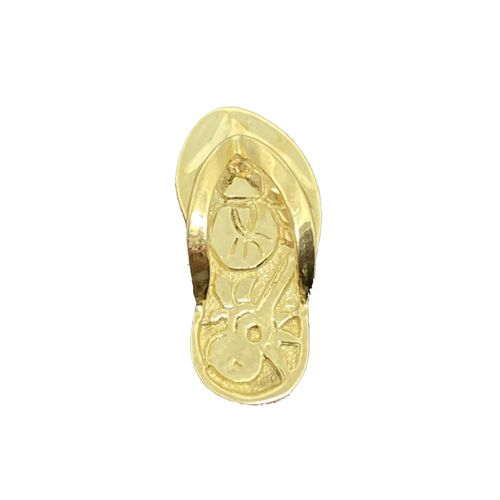 14KT Yellow Gold Slipper Pendant with Musical Design