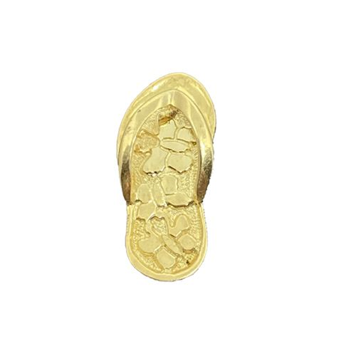 14KT Yellow Gold Slipper Pendant with Butterflies Design