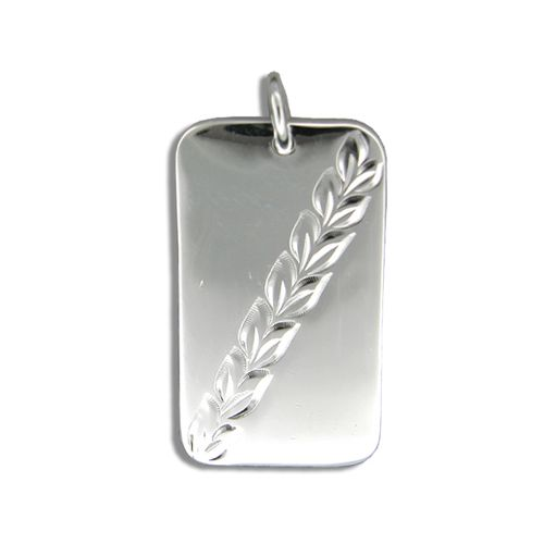 Sterling Silver Hawaiian Dog Tag Pendant with Maile Leaf Designs