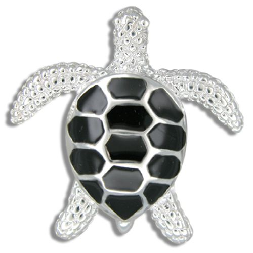 Sterling Silver Heavy Sea Turtle Pendant with Black Enamel
