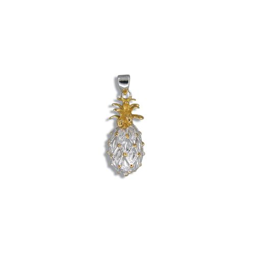 Sterling Silver Hawaiian Two Toned Pineapple Pendant (S)