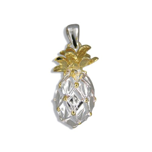 Sterling Silver Two Toned Hawaiian Pineapple Pendant (L)
