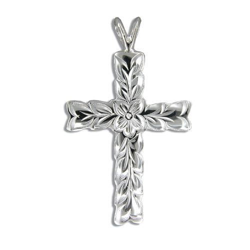 Sterling Silver Hawaiian Maile Cut-out Cross Pendant