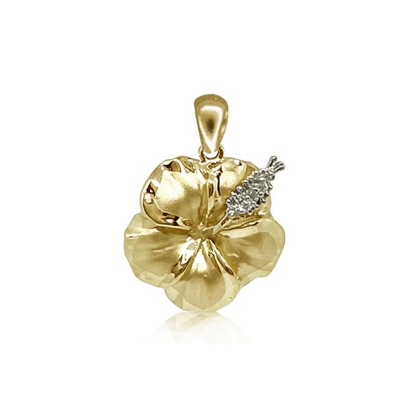 14KT Yellow Gold 19MM Hibiscus Pendant with Diamond Stamens
