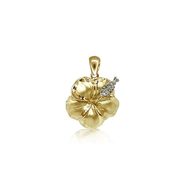14KT Yellow Gold 12MM Hibiscus Pendant with Diamond Stamens