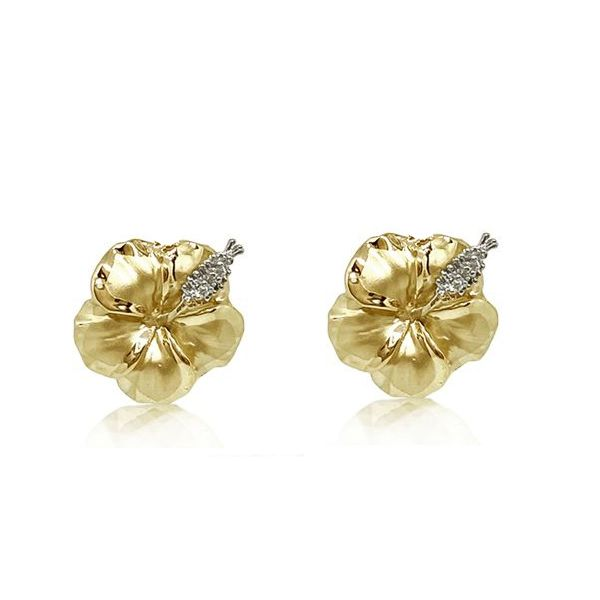14KT Yellow Gold 12MM Hibiscus Pierced Earrings with Diamond Stamens