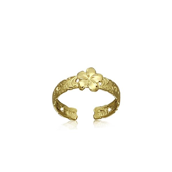 14kt Gold Hawaiian 7mm Plumeria and Scroll Toe Ring