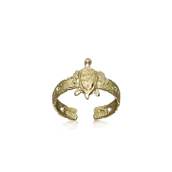 14kt Gold Hawaiian 9mm Honu and Scroll Toe Ring