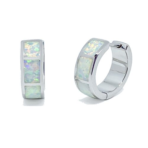 Sterling Silver Opal Inlay Huggie Hoop Earrings