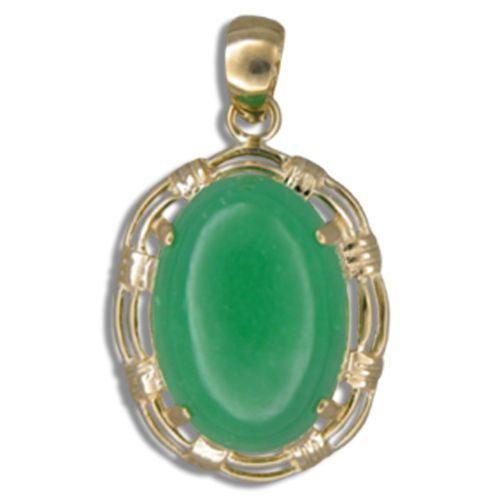 14KT Gold Cut-In Rope Design with Oval Shaped Green Jade Pendant
