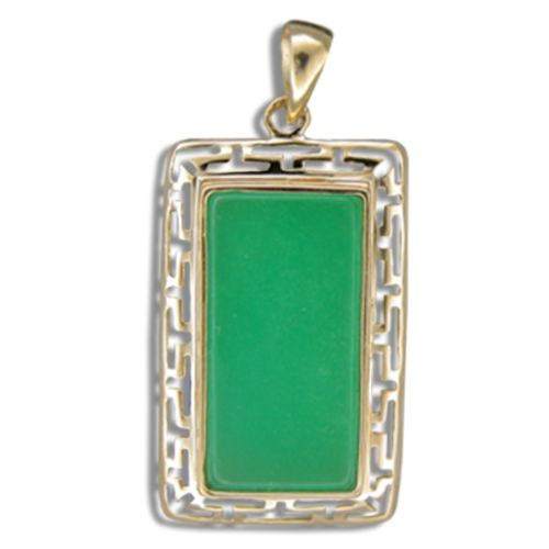 14KT Gold Cut-In Wavy Greek symbol Design with Rectangle Shaped Green Jade Pendant