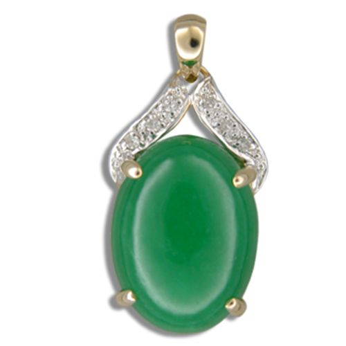 14KT Yellow Gold Oval Shaped Green Jade with Diamond Pendant
