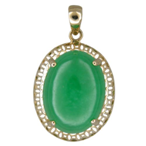 14KT Yellow Gold Cut-In Chinese Pattern Design with Oval Shaped Green Jade Pendant
