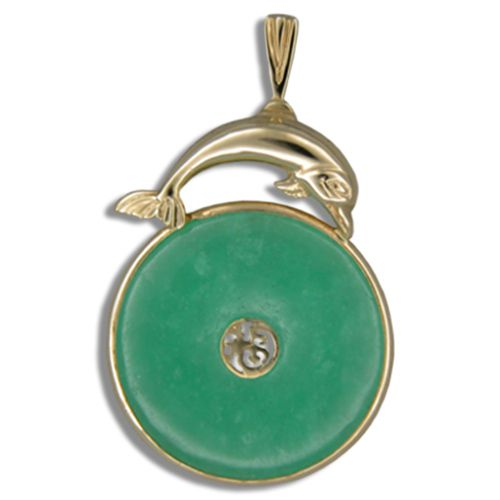 14KT Yellow Gold Dolphin with Good Fortune Symbol and Doughnut Shaped Green Jade Pendant