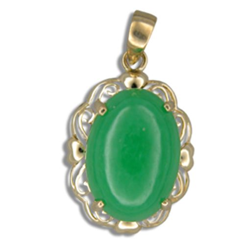 14KT Yellow Gold Cut-In Hearts with Oval Shaped Green Jade Pendant