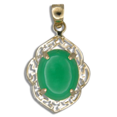 14KT Gold Cut-Out Wavy Greek Design with Oval Shaped Green Jade Pendant