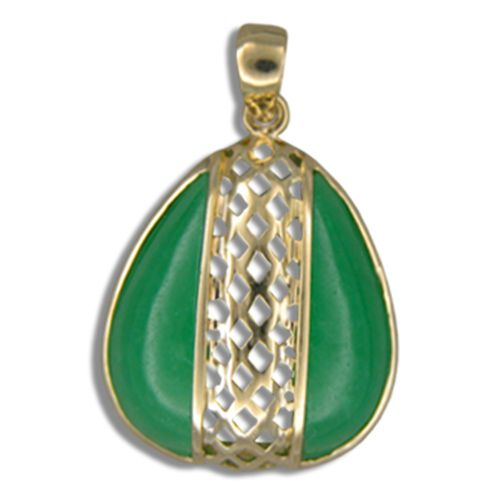 14KT Yellow Gold Cut-Out Diamond Shapes with Water Drop Shaped Green Jade Pendant