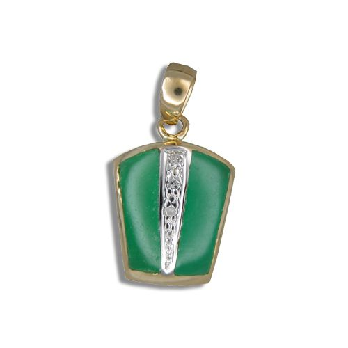 14KT Yellow Gold Bar with Diamond and Green Jade Pendant