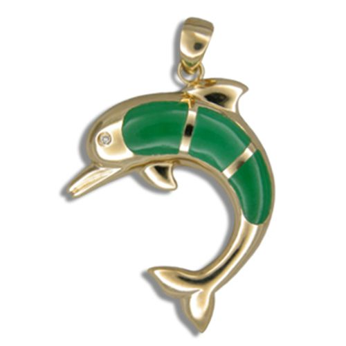 14KT Yellow Gold Green Jade Dolphin Pendant with Diamond