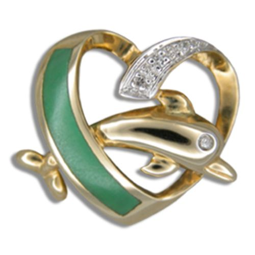 14KT Yellow Gold Green Jade Dolphin in Heart Pendant with Diamond