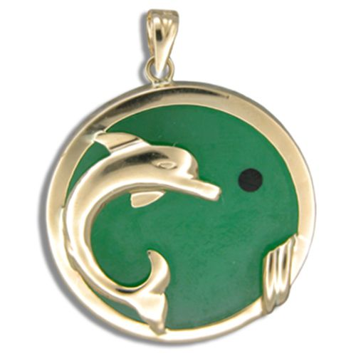 14KT Yellow Gold Dolphin with Round Shaped Green Jade Pendant