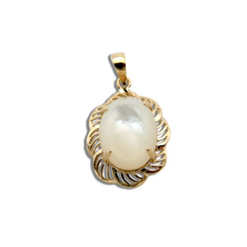 14KT Yellow Gold Cut-Out Flower Design with Oval Shaped MOP (Mother of Pearl Shell) Pendant