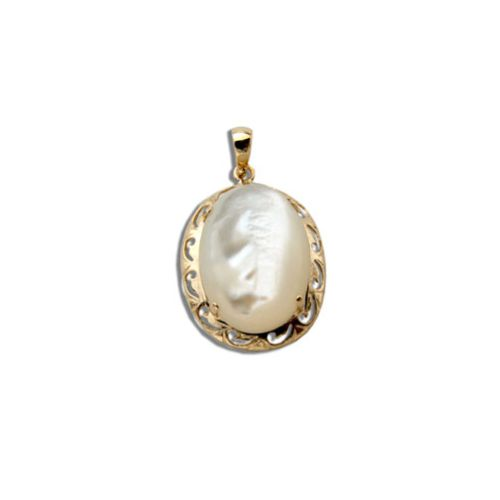 14KT Yellow Gold Oval Shaped MOP (Mother of Pearl Shell) with Cut In Waves Design Pendant (S)