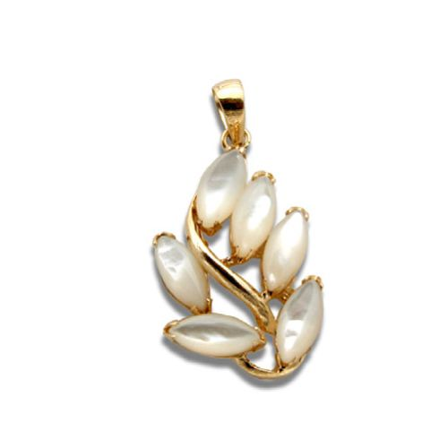 14KT Yellow Gold Leaf Design with MOP (Mother of Pearl Shell) Pendant