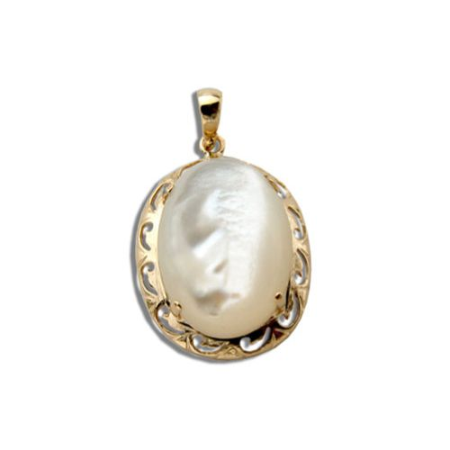 14KT Yellow Gold Oval Shaped MOP (Mother of Pearl Shell) with Cut In Waves Design Pendant