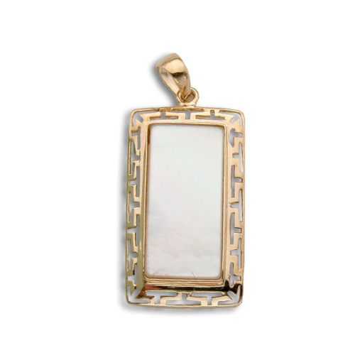 14KT Gold Cut-In Wavy Greek symbol Design with Rectangle Shaped MOP (Mother of Pearl Shell) Pendant