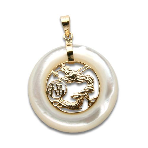 14KT Yellow Gold Dragon in Circle with Chinese Character Good Fortune MOP (Mother of Pearl Shell) Pendant