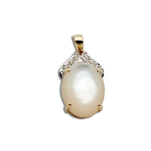 14KT Yellow Gold Oval Shaped MOP (Mother of Pearl Shell) with Diamond Pendant
