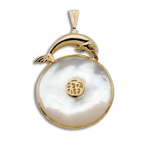 14KT Yellow Gold Dolphin with Good Fortune Symbol and Doughnut Shaped MOP (Mother of Pearl Shell) Pendant