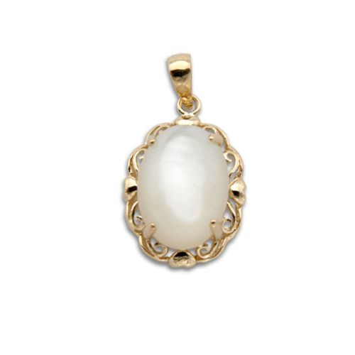 14KT Yellow Gold Cut-In Hearts with Oval Shaped MOP (Mother of Pearl Shell) Pendant