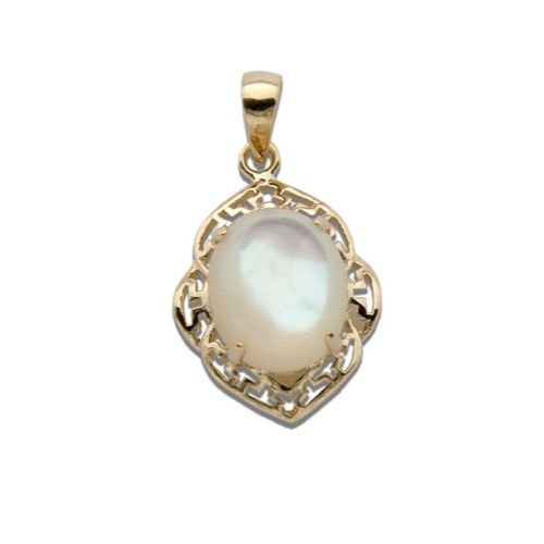 14KT Gold Cut-Out Wavy Greek Design with Oval Shaped MOP (Mother of Pearl Shell)  Pendant