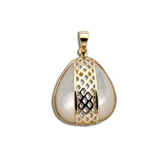 14KT Yellow Gold Cut-Out Diamond Shapes with Water Drop Shaped MOP (Mother of Pearl Shell) Pendant