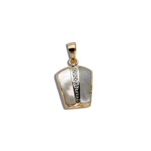 14KT Yellow Gold Bar with Diamond and MOP (Mother of Pearl Shell) Pendant