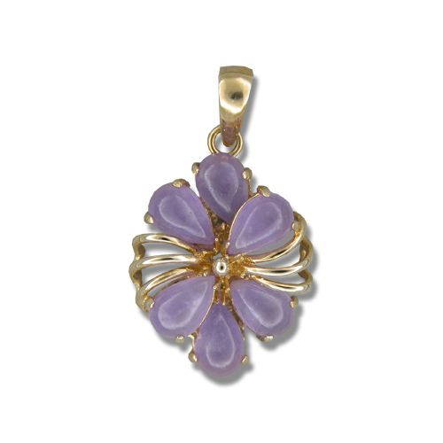 14KT Yellow Gold Fancy Six-Petal Plumeria with Purple Jade Pendant