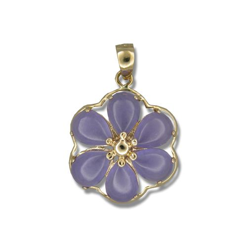 14KT Yellow Gold Six-Petal Plumeria with Purple Jade Pendant